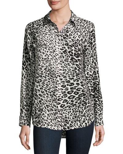 Slim Signature Animal-Print Shirt, Nature White/True Black