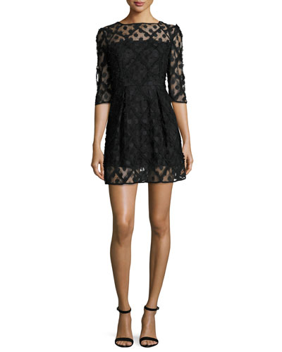 Celia Bateau-Neck Half-Sleeve Embroidered Minidress, Black