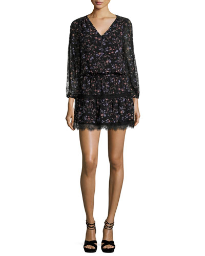 Auggie Lace-Trim Floral-Print Blouson Dress
