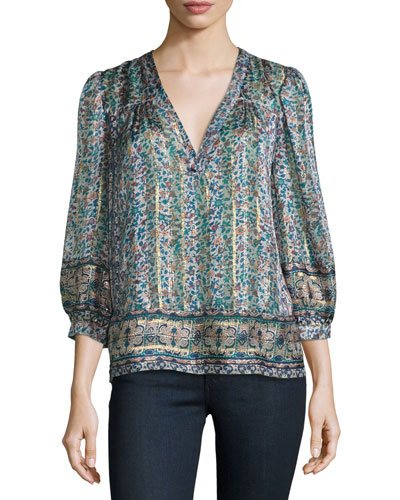 Frazier Mixed-Print Silk Blouse, Dusty Mink