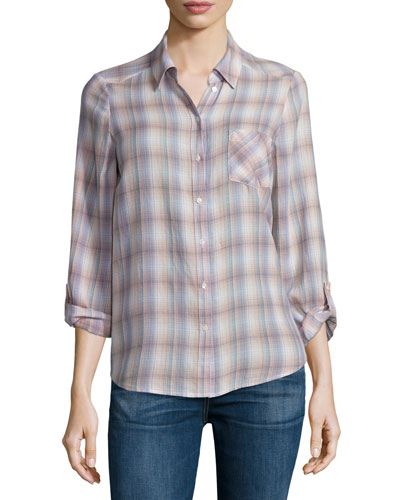 Jerrie Button-Front Plaid Shirt, Dusty Mink