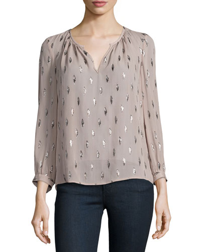 Mauro Long-Sleeve Metallic-Trim Silk Blouse, Dusty Mink