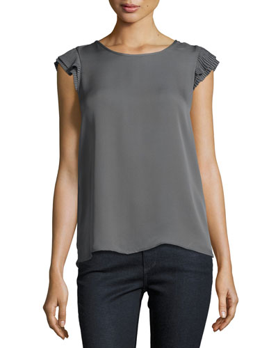 Nesrin Cap-Sleeve Silk Top, Granite