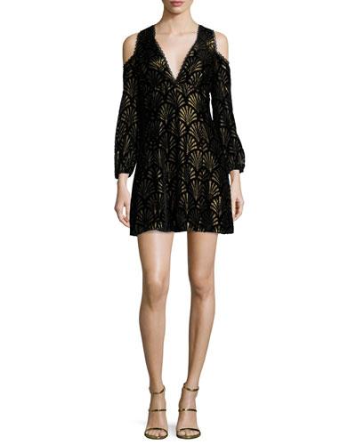 Arla Cold-Shoulder Metallic Dress