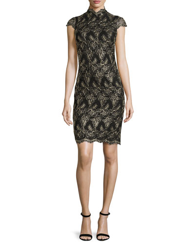 Marya Fitted Scalloped-Lace Dress