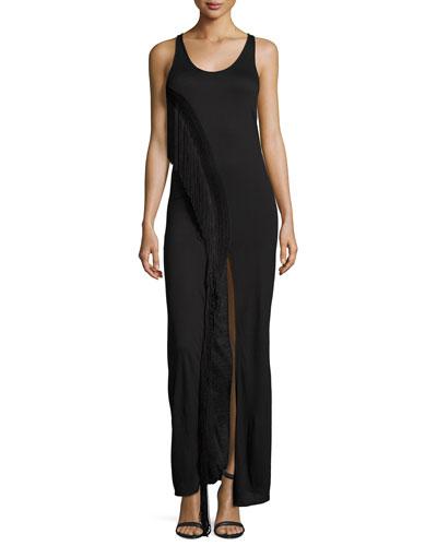 Fringe Racerback Maxi Dress, Black
