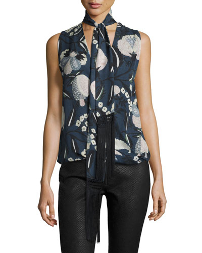 You Only Live Twice Sleeveless Silk Blouse, Solitaire