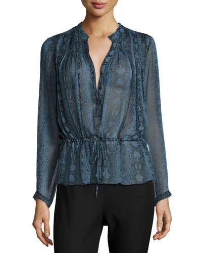 Snakeskin-Print Silk Blouson Top, Bluemarine