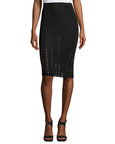 Melanie Pointelle Knit Pencil Skirt, Black