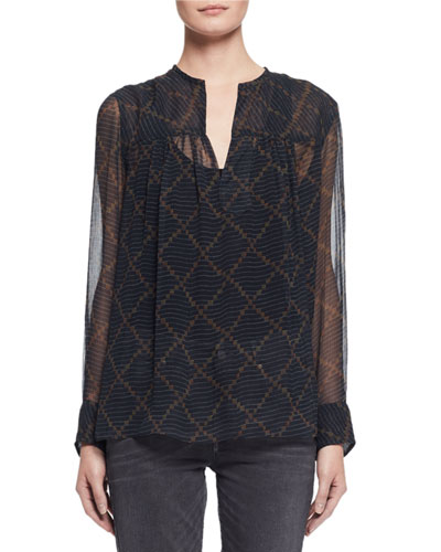 Bowtie Long-Sleeve Patterned Silk Tunic, Black