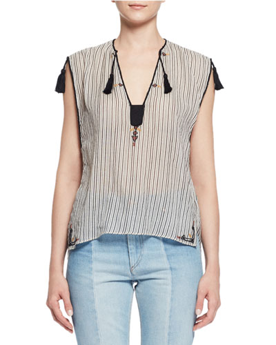 Judith Sleeveless Striped Tassel Top, Ecru