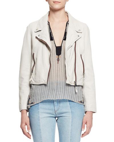 Aken Cropped Leather Jacket, Chalk