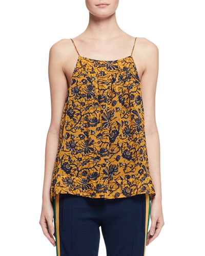 Bronson Floral Silk Camisole, Yellow