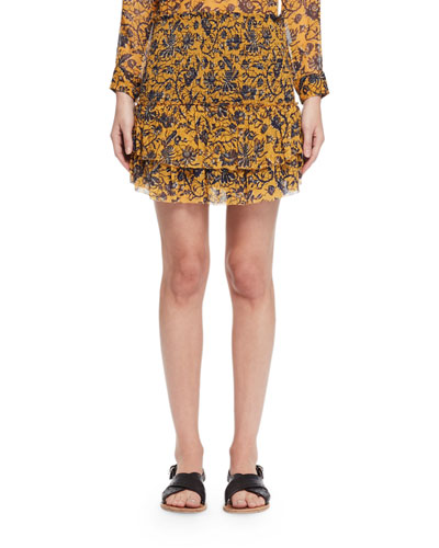 Brinley Tiered Floral Silk Skirt, Yellow