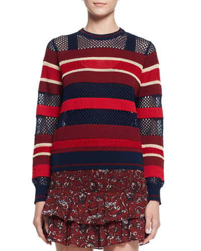 Deacon Ribbed Mesh-Trim Pullover Sweater, Blue