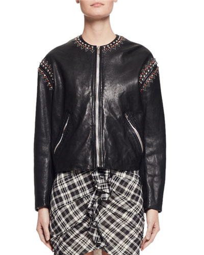 Buddy Studded Leather Jacket, Black
