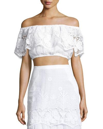 Dakota Lace Off-the-Shoulder Crop Top, Pure White