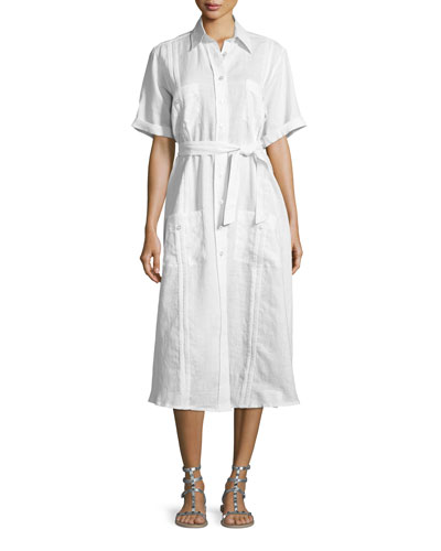 Guayabera Midi Shirtdress, Pure White