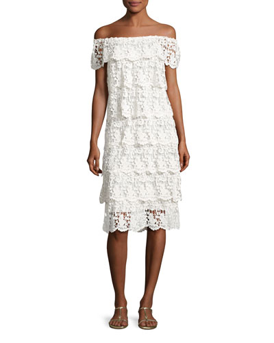 Angelica Off-the-Shoulder Tiered Lace Dress, White