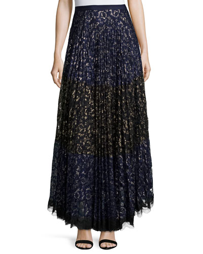 Karen Pleated Lace Maxi Skirt, Navy