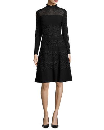 Cora Ruffle-Collar Embroidered A-Line Dress, Black