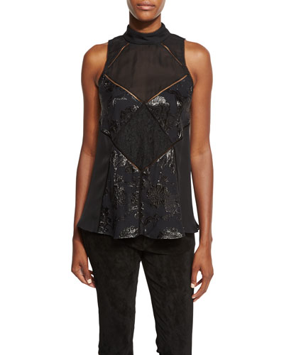 The Once You Kiss A Stranger Sleeveless Silk Top, Black