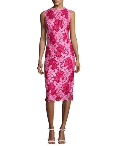 Sleeveless Two-Tone Lace Cocktail Dress, Magenta/Rose Pink