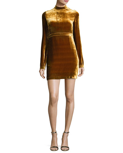 Gemma Long-Sleeve Velvet Mini Dress, Gold