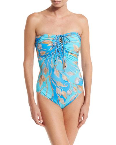 Capri Lace-Up Bandeau One-Piece Swimsuit