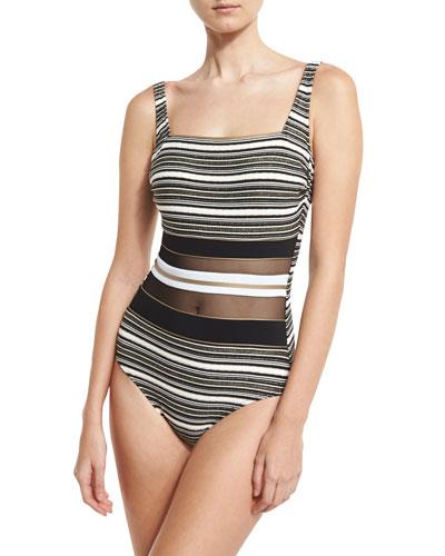 Regatta Metallic-Stripe One-Piece Swimsuit