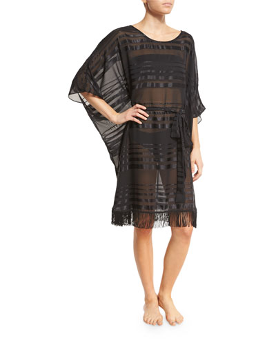 Regatta Fringe-Hem Striped Caftan Coverup