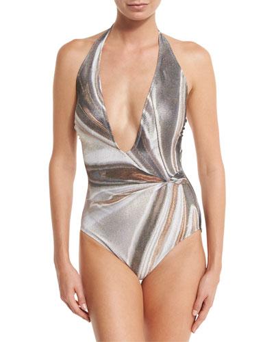 Agate Lamé Plunging Halter One-Piece Swimsuit