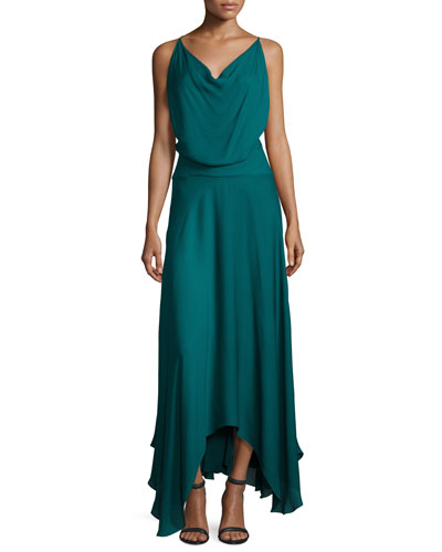 The Morton Silk Cowl Dress, Teal
