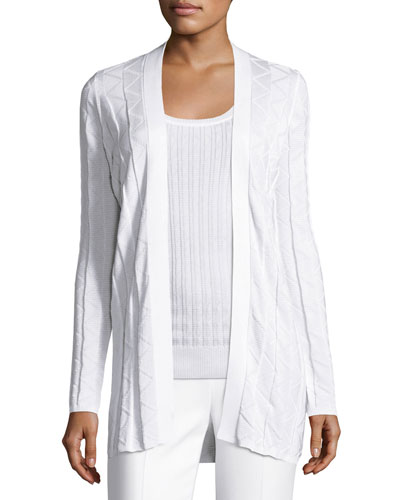 Zigzag Knit Long Cardigan, White