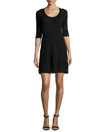 Half-Sleeve Rib-Stitch A-Line Dress, Black