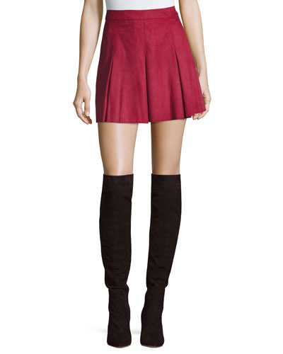 Lee Pleated Suede Mini Skirt, Burgundy