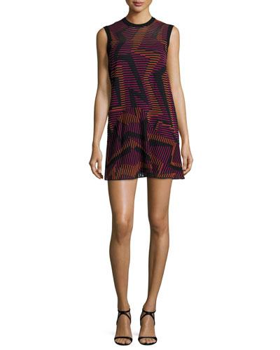 Sleeveless Ribbed Geometric-Knit Dress, Fuchsia