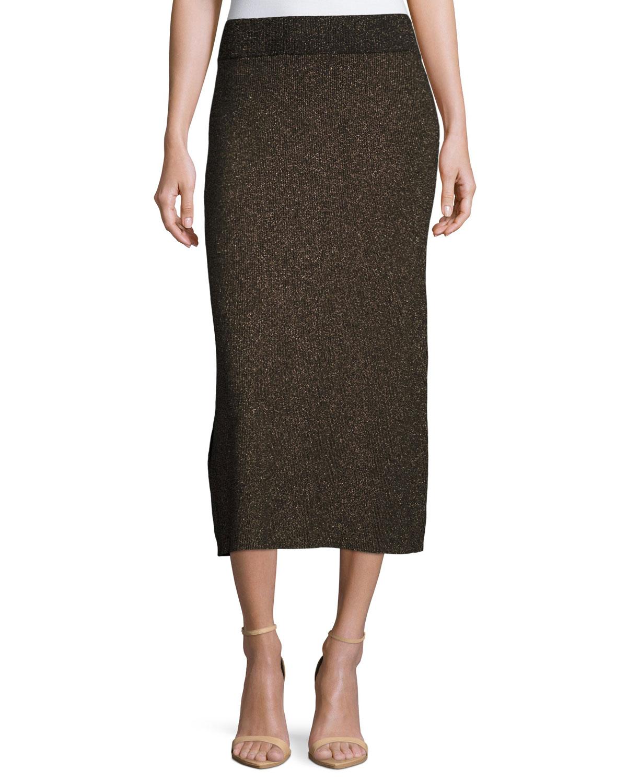 Cook Ribbed Metallic Midi Skirt, Black/Apricot