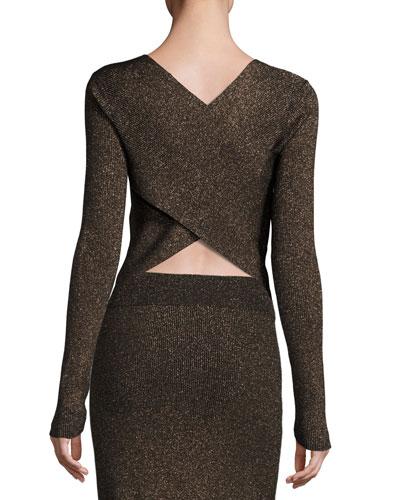 Chance Ribbed Metallic Sweater, Black/Apricot