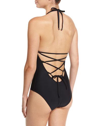 Lace-Back One-Piece Swimsuit, Matte Black