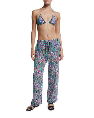 Paisley Silk Beach Coverup Pants, Multicolor