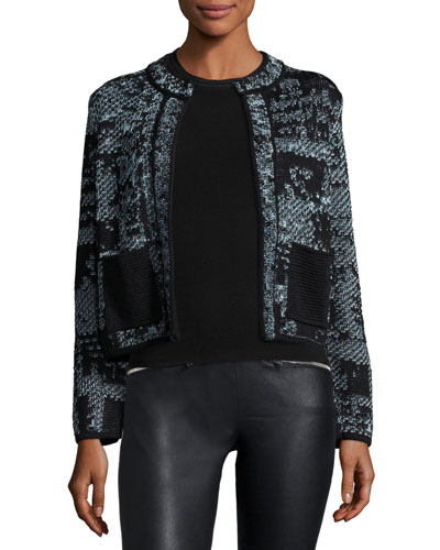 Jewel-Neck Cropped Boucle Jacket, Ice