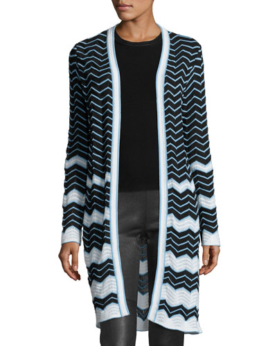 Long Cotton-Blend Zigzag Cardigan, Black