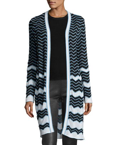 Long Cotton-Blend Zigzag Cardigan, Black