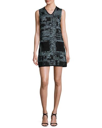 Sleeveless V-Neck Boucle Shift Dress, Ice