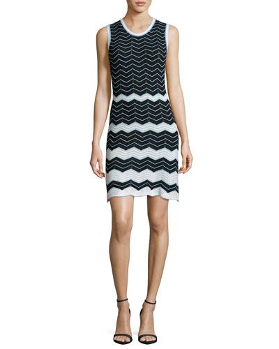 Sleeveless Scoop-Neck Zigzag Dress, Black
