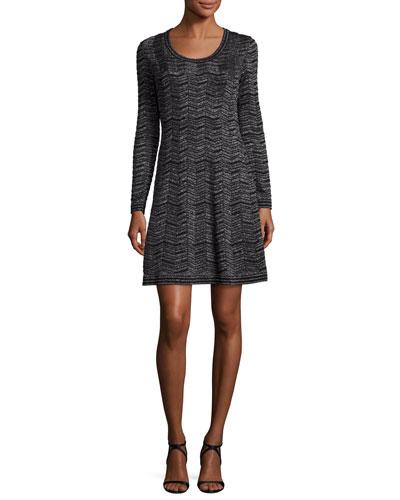 Long-Sleeve Zigzag Lurex® A-Line Dress, Black