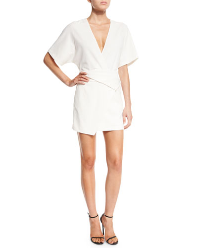 Short Dolman-Sleeve Deep V-Neck Wrap Dress, Chalk