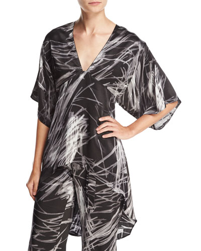 High-Low Printed Kimono Top, Black Reflection