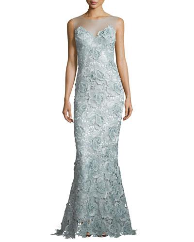 Sleeveless Rosette Lace Mermaid Gown, Metallic Blue/Steel